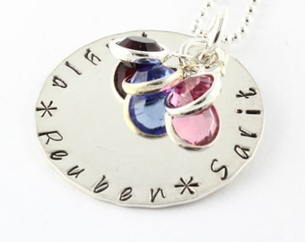Personalized Birthstone Necklace - Custom Necklace - Birth Stone Necklace - Customized Necklace - Mothers Day Gift for Mom - Grandma Gift