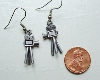 Movie camera earrings silver pewter charms film tripod photographer USA-made lead-free