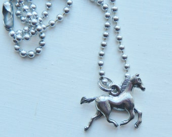 Horse Charm Necklace silver pewter pink black leather or chain USA-made lead-free