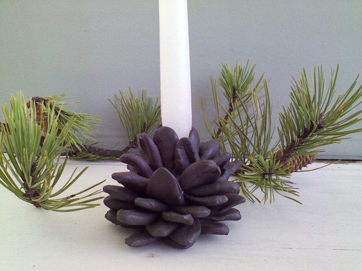 Sculptured Pine Cone Candle Holder by nancybrookspottery on Etsy