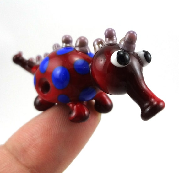Red Polka Dotted Lampworked Glass Creature Figurine Bead