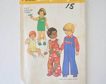 70s vintage sewing pattern- simplicity 7322--toddler size 3 jumpsuit and shirt with appliques