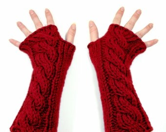 Long Fingerless Gloves, Deep Cherry Apple Red, Cable Knit