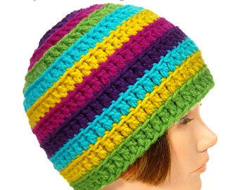Bright Striped Crochet Hat, Rainbow Beanie, Kufi Cap