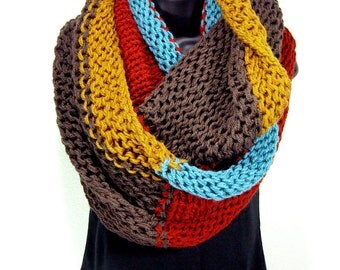 Knit Infinity Scarf, Extra Large Color Block Cowl