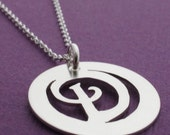 Personalized Necklace - Sterling Silver Initial Necklace - Hand Cut, Pierced Medallion Coin Pendant by EWD