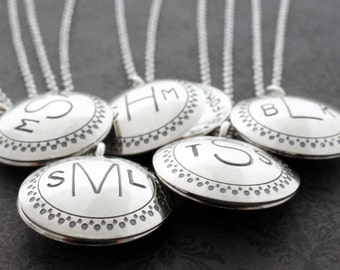Monogrammed Locket Necklace - Personalized Monogram Jewelry in Sterling Silver by Eclectic Wendy Designs - Custom Monogrammed Gifts