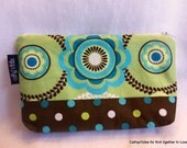 Zippered Pouch Clutch Medium Mod Floral Print and Polka Dots