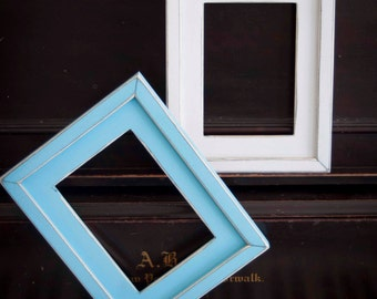 Picture Frames - 2) 5x7 Stacked pine distressed rustic picture frames...aqua blue and white...or choose YOUR colors...HANDMADE