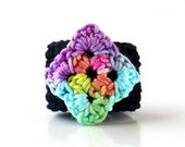 Crochet Ring Fiber Ring  Diamond Shape Mint Green Yellow Light Blue Rose Peach Light Purple On A Black Band