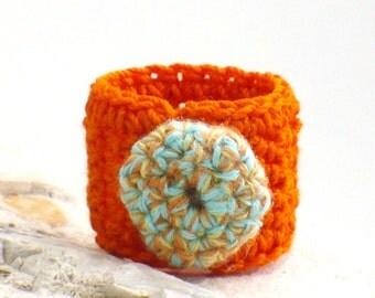 Crochet Ring Fiber Ring  Orange Turquoise Crochet Button on An Orange Band