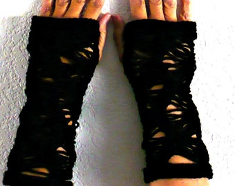 Knit Fingerless Gloves Knit Gloves Knit Arm Warmers Knit Fingerless Mittens Knit Hand Warmers Gauntlets Knit Wrist Warmers Gothic Blace Lace