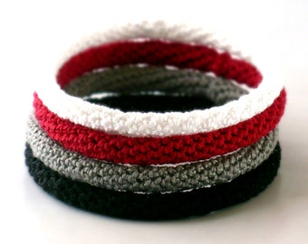 Crochet Bracelet Fiber Bracelet  Bangle Set Fine Thread Icord White Red Gray Black