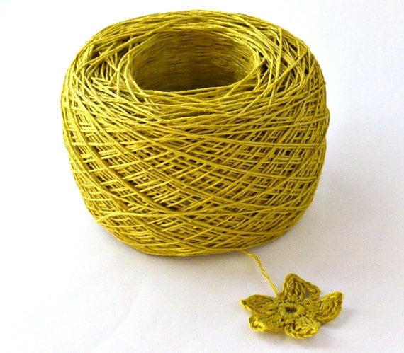 Crochet Thread 3 Ply Linen Thread Mustard Linen Yarn Natural Fiber Tatting Thread Specialty Thread