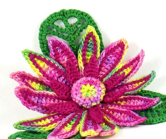 On Sale Marked Down 20% Crochet Brooch Fiber Brooch Irish Crochet Brooch Daisy Pin Fuchsia Yellow Emerald Green Crochet Flower Pin