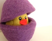 Easter Yellow Chick in a Purple Easter Egg - Needle Felted Wool Toy for Boys and Girls - Waldorf - Bird - Nest Egg