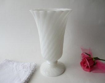 Vintage Brody Milk Glass Swirl Footed Vase