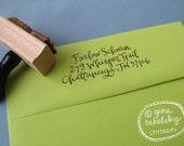Handwritten Address Stamp:  Vintage lettering, your choice of self-inking or red rubber