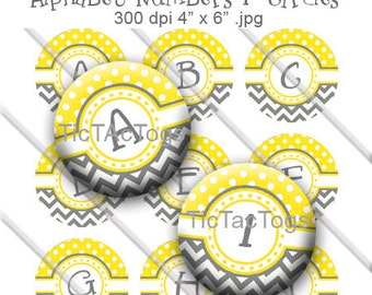 Yellow Polka dot Gray Chevron Alphabet Number Bottle Cap Images Digital Collage 1 Inch A-Z Digi - Instant Download - BC326