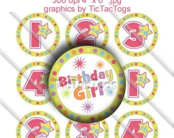 Birthday Girl Colorful Bottle Cap Images 1 Inch Circles Round Graphics Digi Collage 4x6 1st 2nd 3rd 4th - Instant Download - BC147