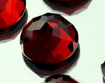 Garnet gemstone, Dark Red to Purple Garnet Rose Cut round  Rose Cut Garnet faceted cabochon - Pair -  3mm 4mm 5mm 6mm or single 8mm