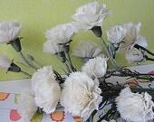 Vintage Plastic White Summer Flowers--Circa 1970--Carnations