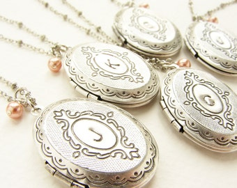 Bridesmaid jewelry, Custom wedding Personalized jewelry 10 initial monogram locket, Custom Bridesmaid gift Wedding Party gift