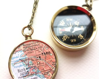 Map compass jewelry, Personalized Two Maps in one Compass Necklace, choose two maps, custom his hers anniversary gift wedding couple
