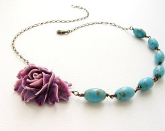 Purple Rose Necklace Turquoise stones, statement necklace grape plum rose statement necklace, bridesmaid jewelry