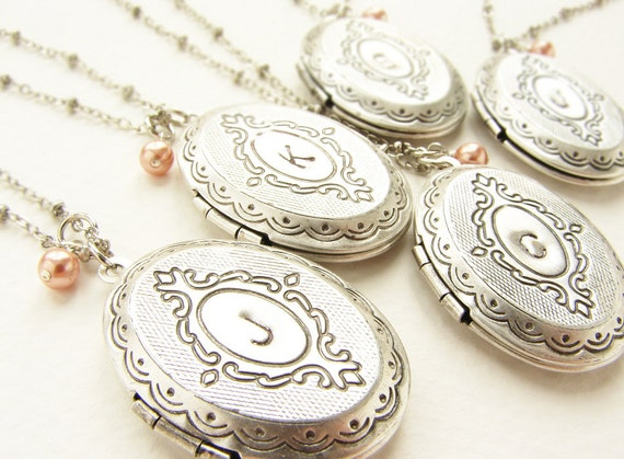 Bridesmaid jewelry, Custom wedding Personalized jewelry 10 initial monogram locket, Custom Bridesmaid gift Wedding Party gift