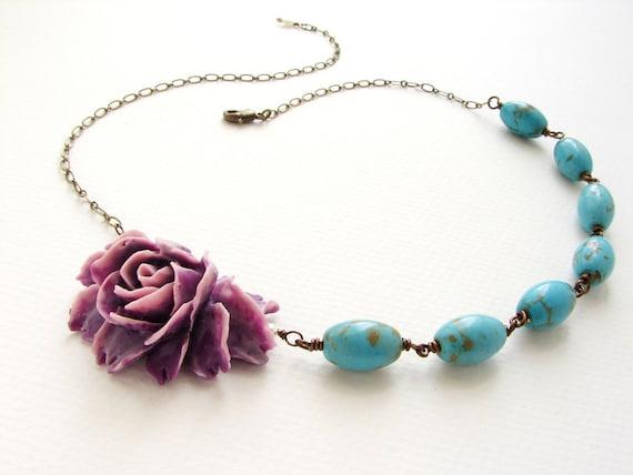 Purple Rose Necklace Turquoise stones, statement necklace grape plum rose statement necklace, bridesmaid jewelry