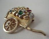 Flower Heart Wagon Brooch Gold Vintage Pin
