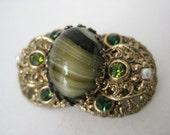 Green Filigree Pearl Brooch Rhinestone Vintage Pin