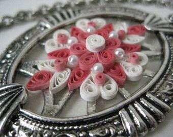 Flower Pink Pearl Silver Necklace Vintage Pendant