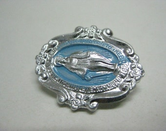 Mother Mary Brooch Silver Blue Vintage Pin