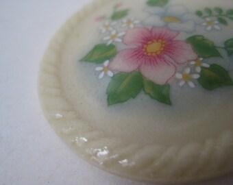 Flower Brooch Porcelain Pink Off White Vintage Pin