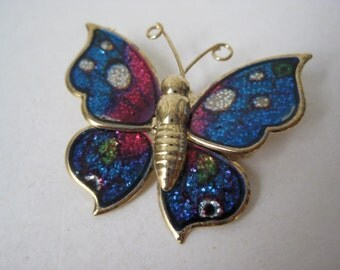 Butterfly Brooch Blue Pink Purple Gold Vintage Pin