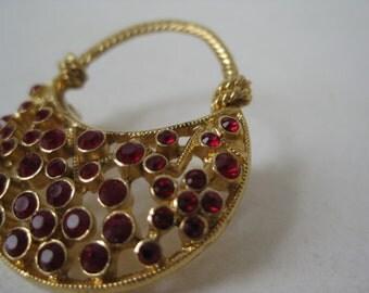 Purse Red Gold Brooch Rhinestone Vintage Pin