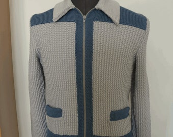 Hand knitted Mens Jacket Silver Grey and Airforce
