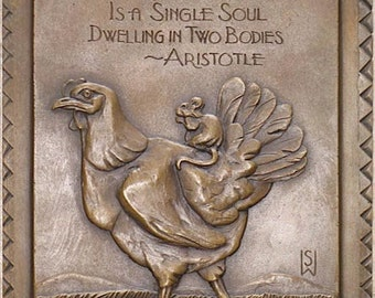 "Bronze Chicken and Mouse Friendship Plaque in bas relief 8"" x 10"" approx"