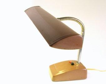 Vintage Mid Century Metal Gooseneck Airplane Wing Desk Lamp - Industrial Lighting