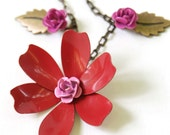SALE 30% off Red flower necklace by CURRICULUM