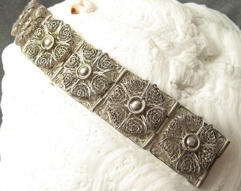 Wide Sterling Filigree Bracelet Vintage Jewelry 1940s B5281