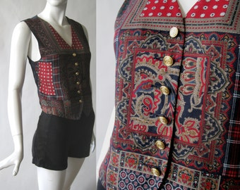 Vintage silky print vest in rich red, deep blue, golden brown, and emerald, with golden coat of arms buttons, Liz Claiborne, small