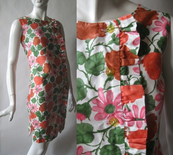1960's ruffle front dress, side button front, in orange, pink, green, and white floral print, extra small / small