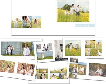 Simply Sweet Album 10x10 - 11 PSD Files - 1 Front-Back Cover and 10 Two-Page Spreads - Photoshop Templates for Photographers - AS8001