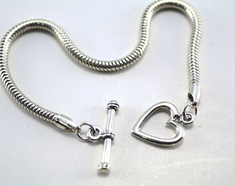 3mm Snake Charm Bracelet with Heart Toggle Clasp, Sterling Silver 925