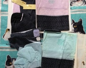 Vintage 1950's four pairs Penney's Gaymode black Textured Fancies, seamless stockings. Black with aqua tops and black with pink tops
