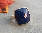 Lapis Lazuli ring - Square ring - Bezel ring - Artisan ring - Gemstone ring - Lapis ring - Faceted - Gift for her