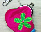 Mini Treasures Purse - Clip Frame - Flower - Pink - Green -  Lobster Clasp - Pocket Money - Lunch Money - Tooth Fairy